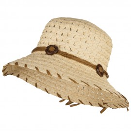 Women's Coconut Buckle Straw Bucket Hat