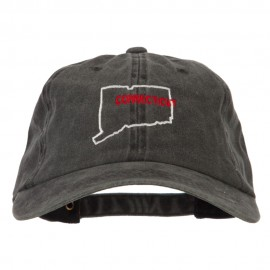 Connecticut with Map Outline Embroidered Washed Cotton Twill Cap