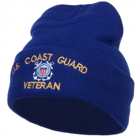 US Coast Guard Veteran Embroidered Long Beanie