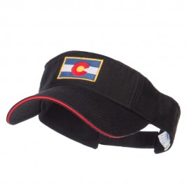Colorado Flag Embroidered Cotton Sandwich Visor - Black Red