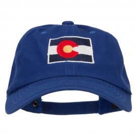 Colorado State Flag Map Embroidered Unstructured Washed Cap