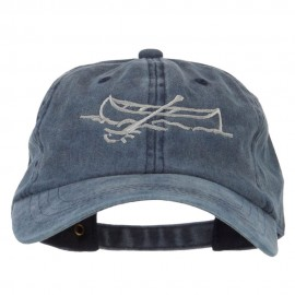 Canoe Outline Embroidered Washed Buckle Cap