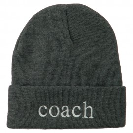 Coach Embroidered Long Beanie - Grey