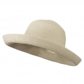 Kettle Brim UPF 50+ Cotton Paper Braid Hat - White Tweed