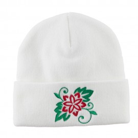 Christmas Poinsettia Flower Embroidered Long Beanie