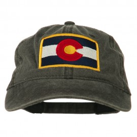 Colorado State Flag Embroidered Washed Buckle Cap - Black
