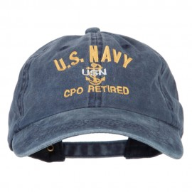 US Navy CPO Retired Military Embroidered Washed Cotton Twill Cap
