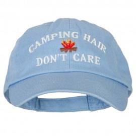 Camping Hair Don't Care with Fire Embroidered Low Profile Cotton Cap