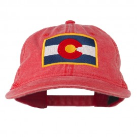 Colorado State Flag Embroidered Washed Buckle Cap - Red