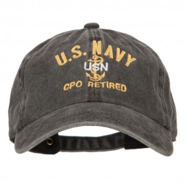 US Navy CPO Retired Military Embroidered Washed Cotton Twill Cap - Black