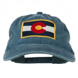 Colorado State Flag Embroidered Washed Buckle Cap - Navy
