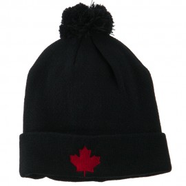 Canada Maple Leaf Embroidered Pom Beanie - Navy