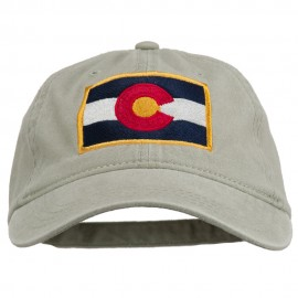Colorado State Flag Embroidered Washed Buckle Cap - Stone