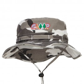 Camping Fun Patched Washed Hunting Hat