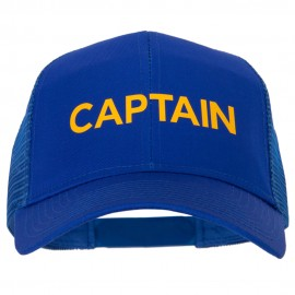 Captain Letter Design Heat Transfer Solid Cotton Mesh Pro Style Cap