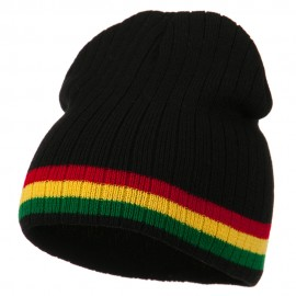 Center Striped Rasta Short Beanie