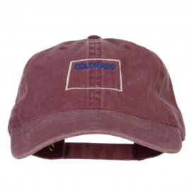 Colorado with Map Outline Embroidered Washed Cotton Cap