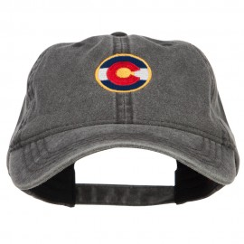Colorado State Flag Embroidered Washed Cap