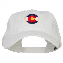 Colorado State Flag Embroidered Washed Cap - White