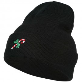 Christmas Candy Cane Embroidered Long Beanie