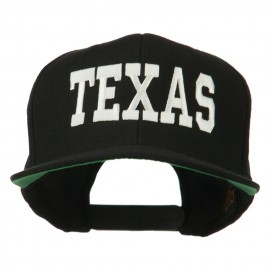 College Texas Embroidered Snapback Cap - Black