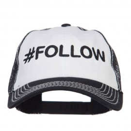 Follow Embroidered Cotton Mesh Cap