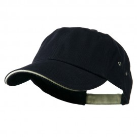 Contrast Ultra Heavy Weight Brushed Cotton Twill Cap - Navy Khaki