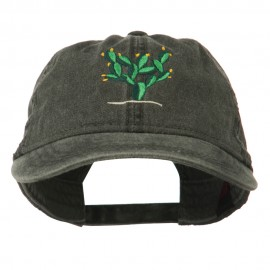 Cactus Embroidered Washed Cap - Black