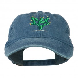 Cactus Embroidered Washed Cap - Navy