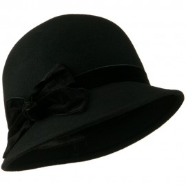 Cloche Crushed Velvet Band and Knot bow Hat - Black