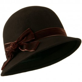 Cloche Crushed Velvet Band and Knot Bow Hat