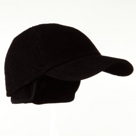 Men's Corduroy Warmer Flap Cap - Black