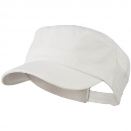 Colorful Washed Military Cap - White