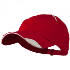 Low Profile Unstructured Cotton Washed Cap - Red White