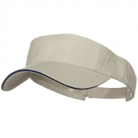 Prostyle Cotton Twill Washed Sandwich Visor - Stone Navy