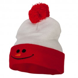 Christmas Snowman Smile Embroidered Cuff Long Beanie