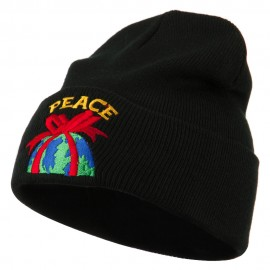 Christmas World Peace Embroidered Beanie - Black