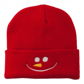 Christmas Snowman Smiley Embroidered Beanie