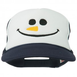 Christmas Snowman Smile Embroidered Foam Cap