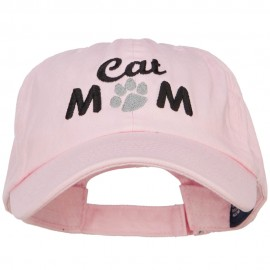 Cat Mom Words with Paw Embroidered Cotton Cap