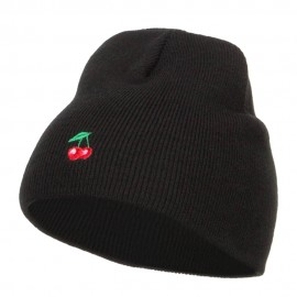 Mini Cherry Embroidered Short Beanie