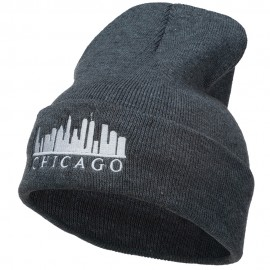 Chicago Skyline Embroidered Long Beanie