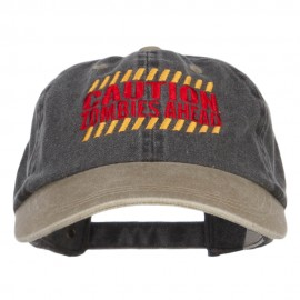 Caution Zombie Ahead Embroidered Dyed Washed Cap