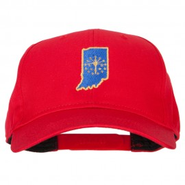 Indiana State Flag Map Embroidered Solid Cotton Pro Cap