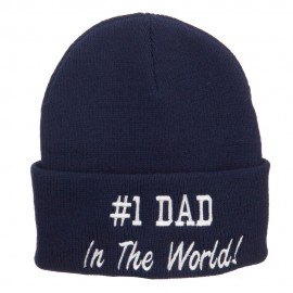 Number 1 Dad In The World Embroidered Long Beanie