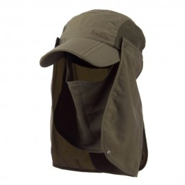 UV 50+ Folding Bill Cap with Double Flaps - Olive