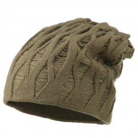 Deep Crown Distressed Reversible Beanie - Taupe