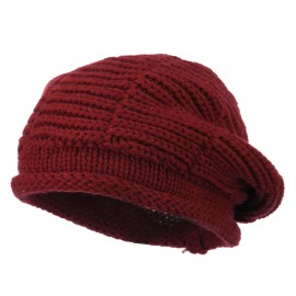 Ladies Cable Knit Beret - Burgundy