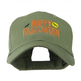 Happy Halloween Dripping Down Embroidered Cap - Olive