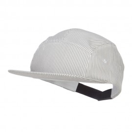 Men's Striped 5 Panel Flat Bill Cap